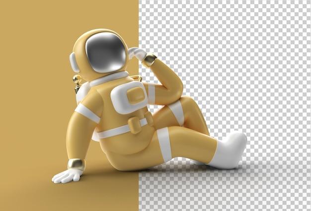 3d render astronauta astronauta piensa, decepción, gesto caucásico cansado