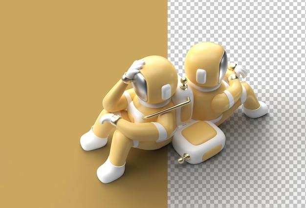 3d render astronauta mark piensa, decepción, gesto caucásico cansado