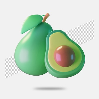 3d render avocado icoon solated