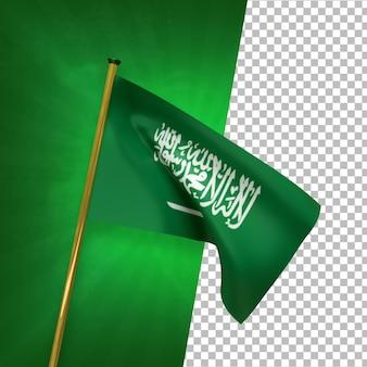 3d render bandera de arabia saudita con poste dorado