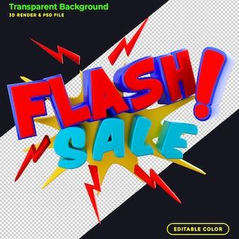 3d render banner de venta flash promocional