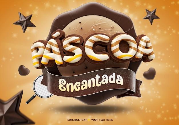 3d render betoverde pasen-evenement brazilië met sterren en chocoladeharten