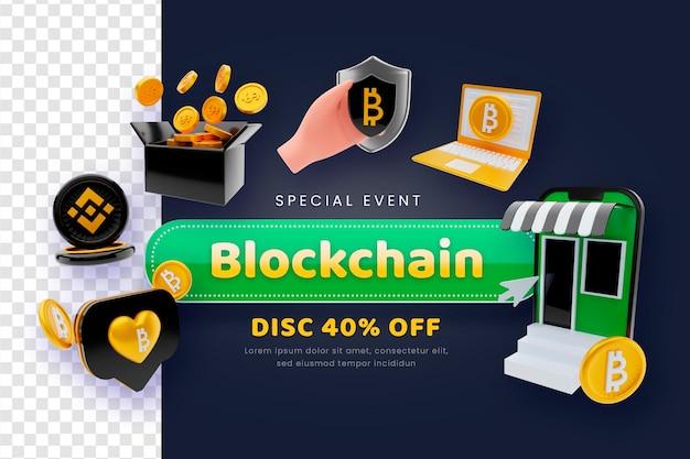 3d render blockchain verkoopconcept