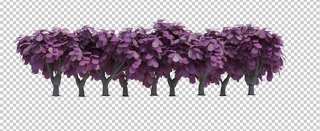 3d render borstel bomen geïsoleerd