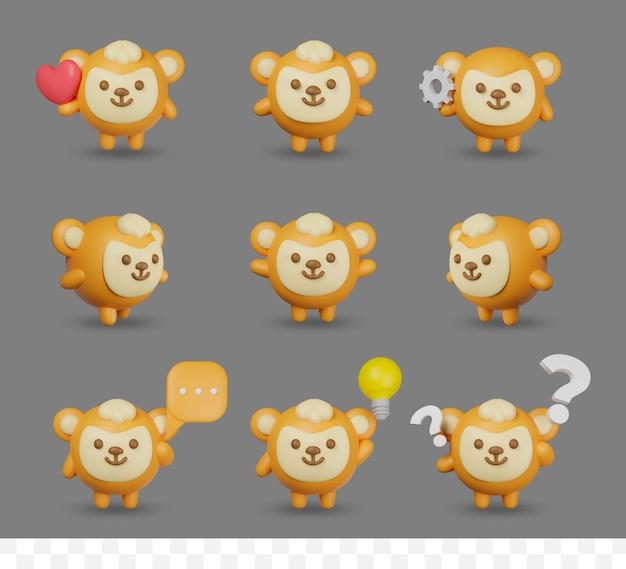 3d render cartoon aap set met pose
