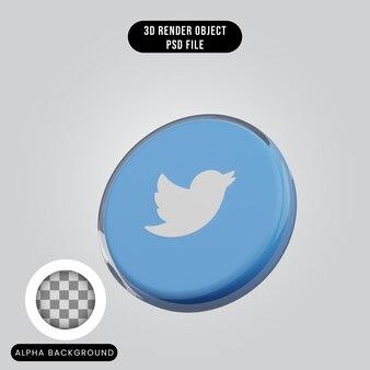 3d render concept social media icoon twitter