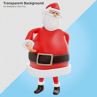 3d render, digitale afbeelding, kerstman stripfiguur, handen zwaaien