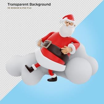 3d render, digitale afbeelding, stripfiguur van de kerstman, wolk