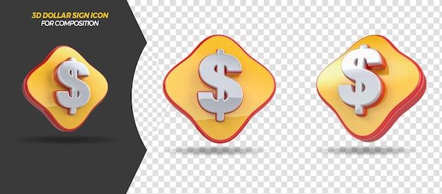 3d render dollarpictogram voor algemene compositie