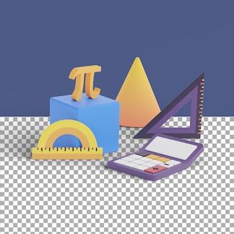 3d render escena matemática