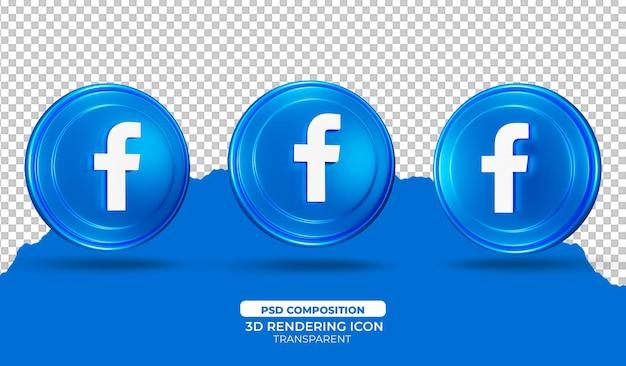 3d render facebook icoon