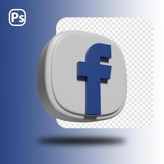 3d render facebook minimaal logo geïsoleerd