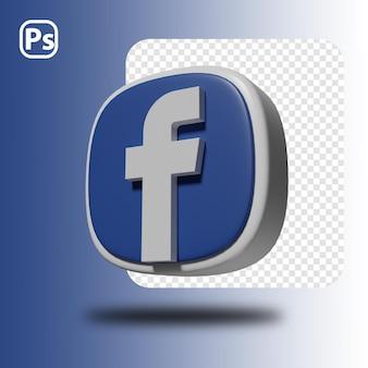 3d render facebook minimaal logo geïsoleerd Premium Psd