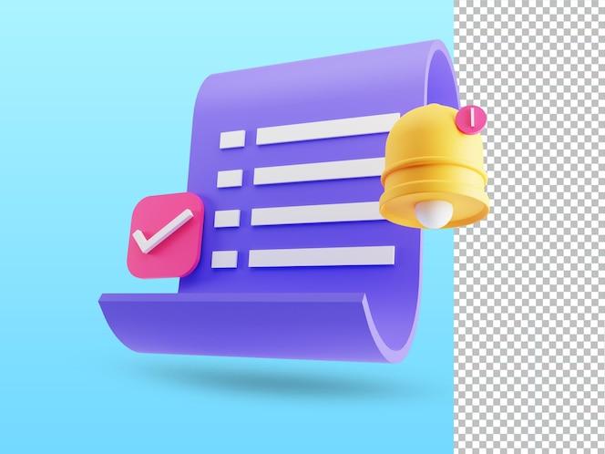 3d render de factura en papel recibo de transacción icono de pago en línea