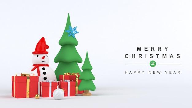 3d render feliz navidad y próspero año nuevo