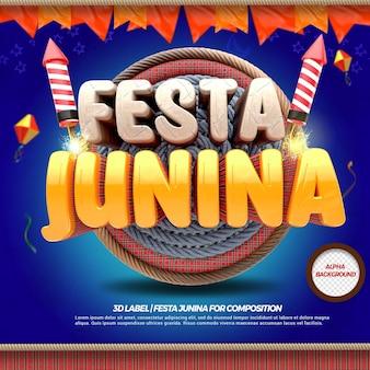 3d render festa junina met vlaggen en vuurwerk