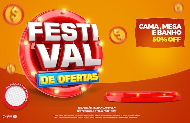 3d render festivalaanbieding met podium in het portugees