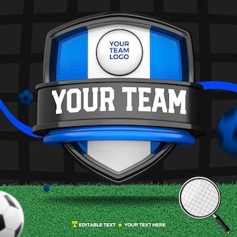 3d render frontal del escudo de torneos y deportes azul y negro y campo de fútbol