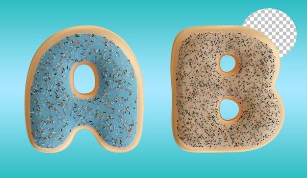 3d render geglazuurde donut letter a en b alfabet vorm