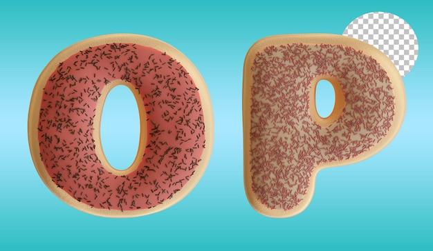 3d render geglazuurde donut letter o en p alfabet vorm met hagelslag