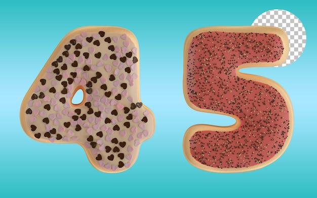 3d render geglazuurde donut nummer vier en vijf vorm alfabet 4 en 5