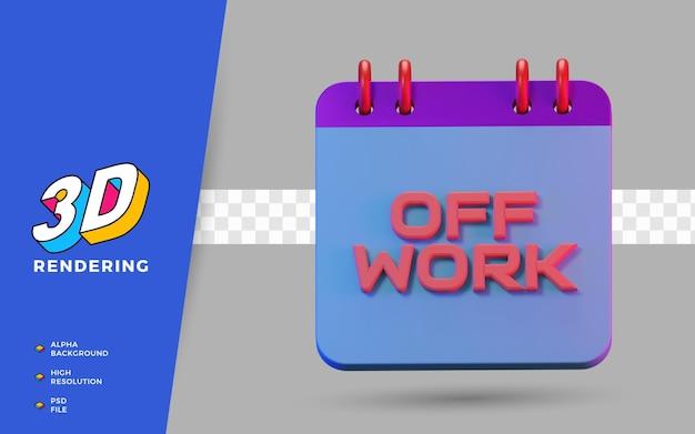 3d render geïsoleerde kalender van werkvakantie