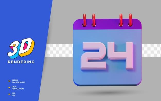 3d render geïsoleerde symboolkalender van 24 dagen voor dagelijkse herinnering of planning