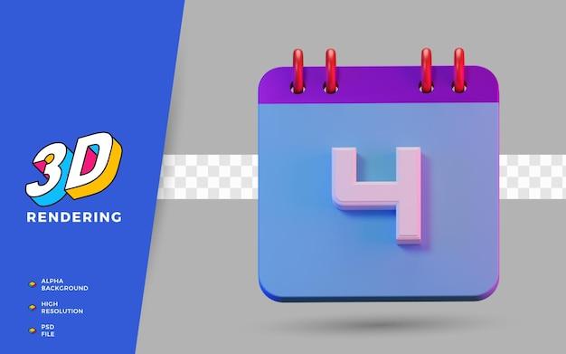 3d render geïsoleerde symboolkalender van 4 dagen voor dagelijkse herinnering of planning