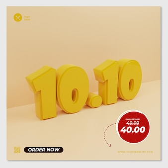 3d render gele achtergrond concept korting 10 10