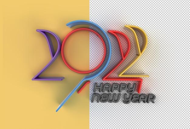 3d render gelukkig nieuwjaar 2022 tekst typografie design transparant psd-bestand.
