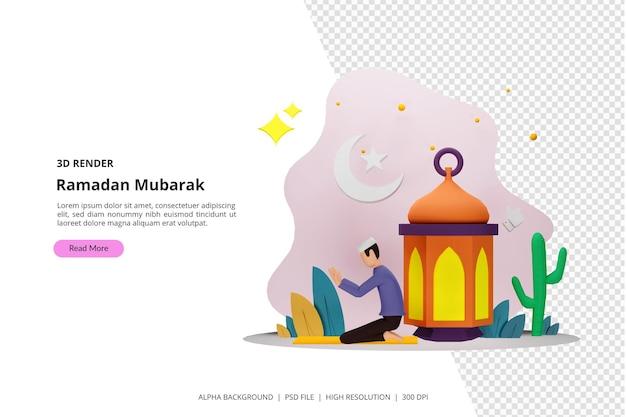 3d render gelukkig ramadan mubarak groet concept met mensen karakter