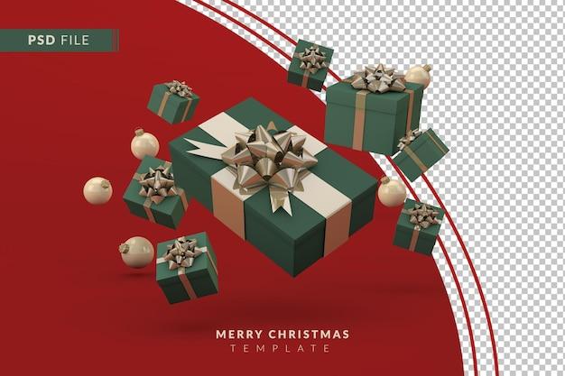 3d render geschenkdoos voor vrolijk kerstfeest isoleren achtergrond