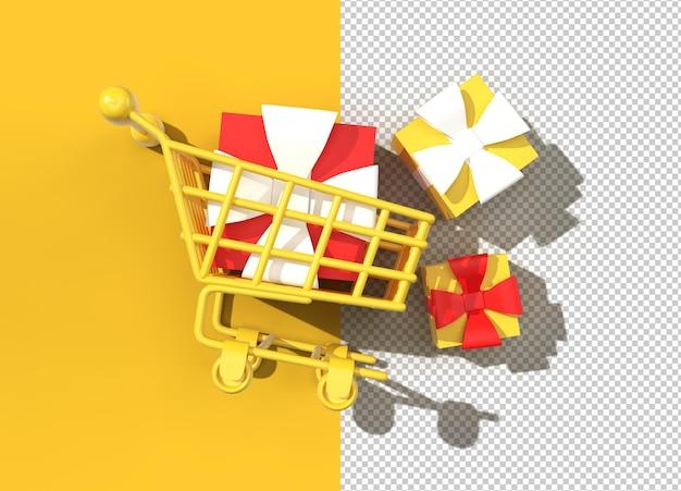 3d render gift box in de winkelwagen.
