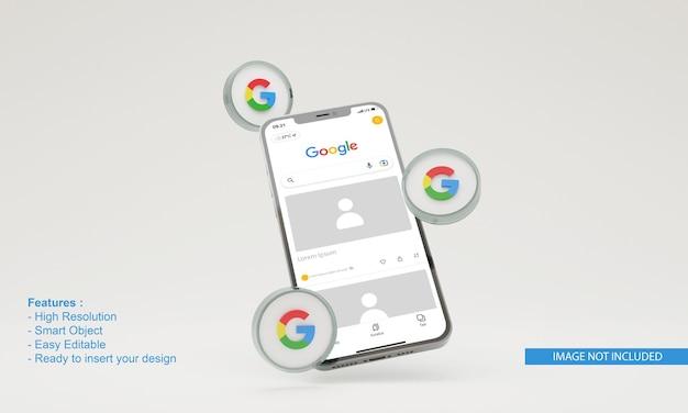 3d render google illustratie mobiele telefoon mockup