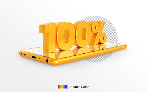 3d render gouden 100% op smartphone voor korting decoratie