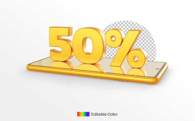 3d render gouden 50% op smartphone voor korting decoratie