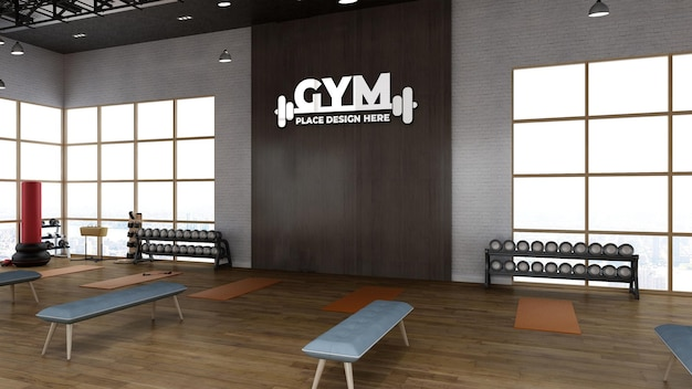 3d render gym kamer met realistische houten muur sport logo mockup