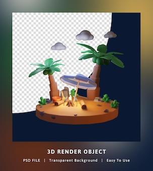 3d render hallo zomer illustratie sjabloon thema-avond met kokospalm en vreugdevuur