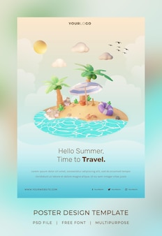 3d render, hallo zomer poster sjabloon, met illustratie kokospalm en parasol strand