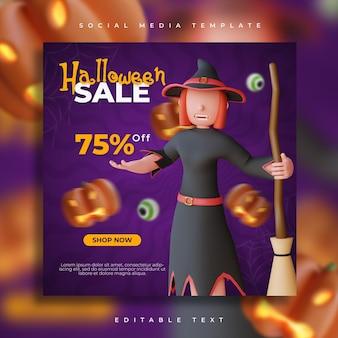3d render halloween-feestverkoop sociale media met heks karakter illustratie flyer-sjabloon