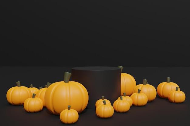 3d render halloween-pompoenen en podium voor productweergave