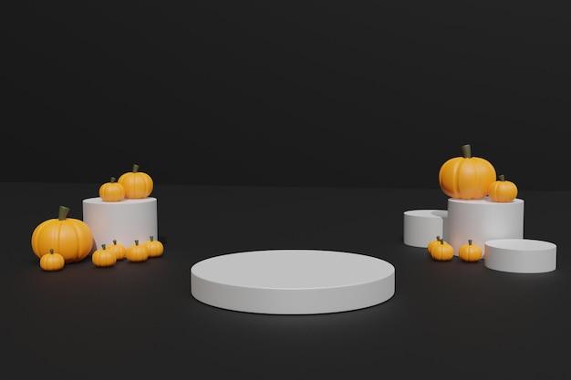 3d render halloween pompoenen en podium