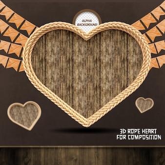 3d render hart met touwvlaggen voor compositie