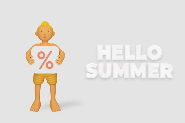 3d render hola banner de verano