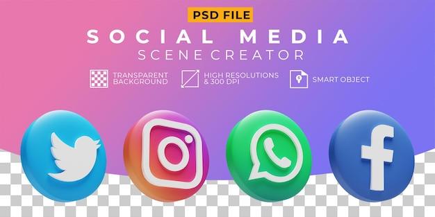 3d render icono de colección de logotipos de redes sociales