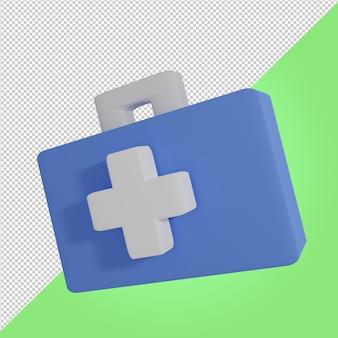 3d render icono médico maleta azul