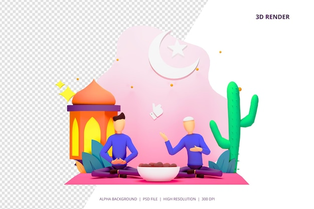 3d render iftar eten na vasten partij concept.