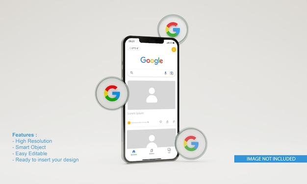 3d render illustratie google pictogram mobiele telefoon mockup