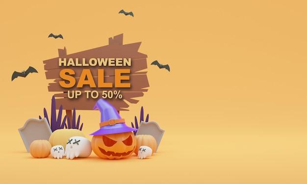 3d render illustratie halloween verkoop