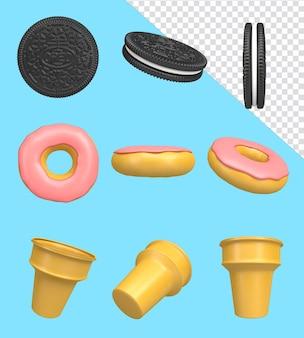 3d render illustratie pictogram voedsel collectie